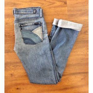 7FAM Straight Legged Jeans w/Faux Leather Pockets